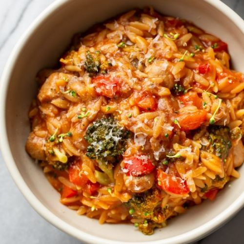 Tomato orzo with chicken sausage