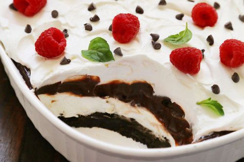 Layers of crumbled chocolate cookies, creamy whipped topping and
