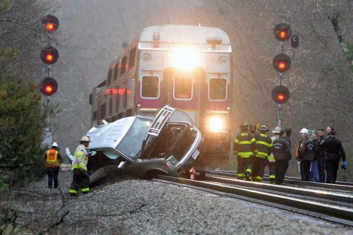Three hospitalized after vehicle collides with Commuter Rail train