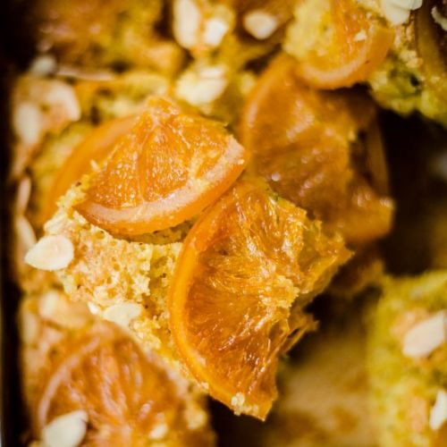 Vegan sticky orange traybake