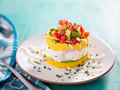 Causa (Peruvian Cold Mashed Potato Casserole With Tuna or Chicken)