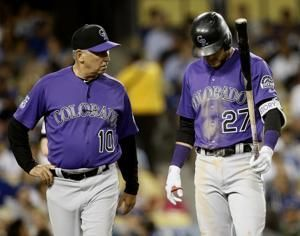 Rockies SS Trevor Story leaves with elbow injury vs Dodgers