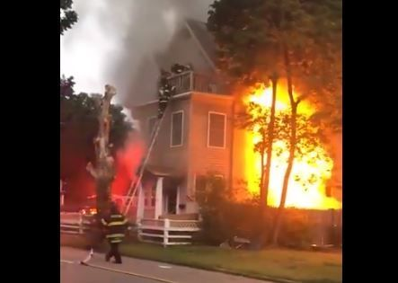 Watch: Dramatic rescue from 3rd floor as fire rages