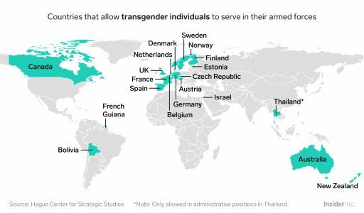 Just 19 countries would accept transgender soldiers if Trump's ban ends up going into place