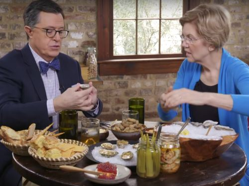 Stephen Colbert Tells Elizabeth Warren a Dirty Joke About Bad Beer