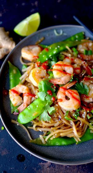 The Easiest Shrimp & Noodle Stir Fry {Naturally Gluten Free}