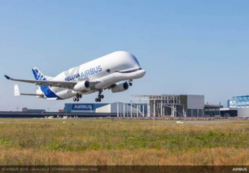 Watch Airbus' massive new cargo plane BelugaXL take its maiden flight