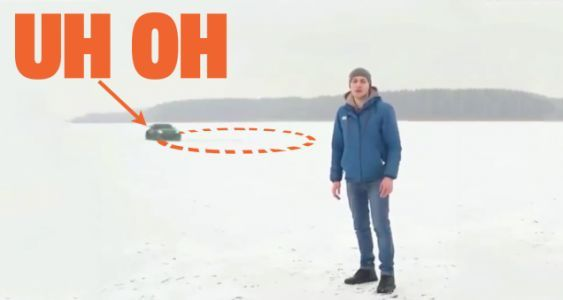 Watch This Russian Nissan 350Z Donut-Cut Itself Into An Icy Lake