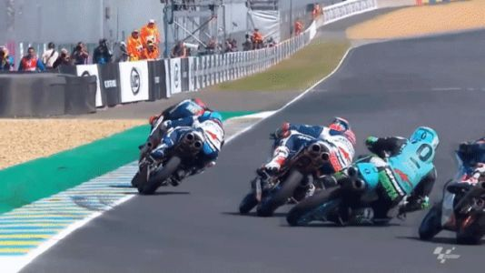 Motorcycle Racer Jumps Crash