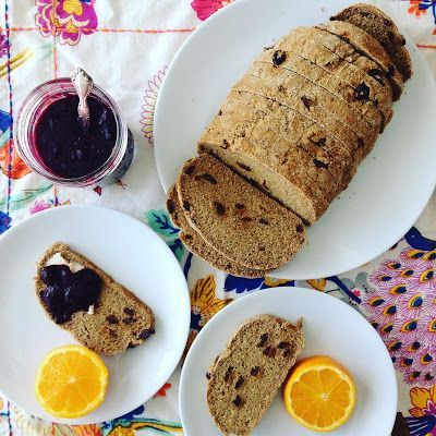 Raisin Bread with Berry-Chia Jam