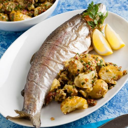 Trout with crushed new potatoes