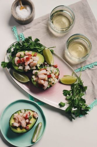 Shrimp Ceviche-Filled Avocados and Vinho Verde Wine