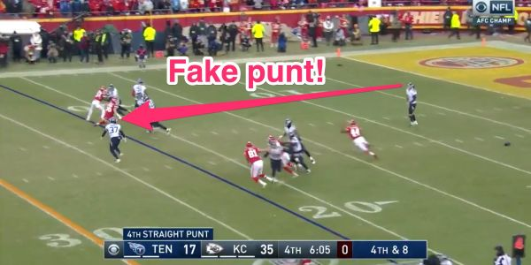 The Titans faked a punt in the AFC Championship, and everyone but the Chiefs saw it coming