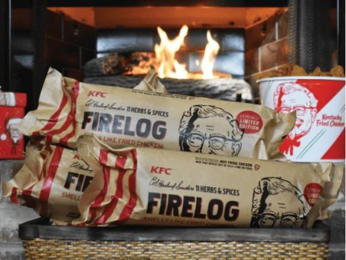 KFC selling a fire log that smells like fried chicken