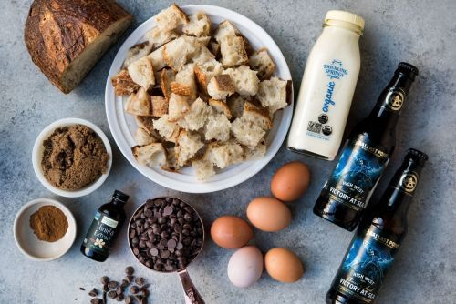 Porter, Coffee and Chocolate Bread Pudding
