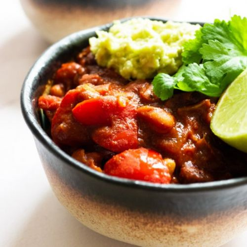 Vegan Bean Chilli with Guacamole