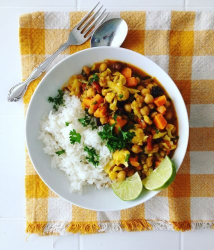 Cauliflower and Sweet Potato Chickpea Curry