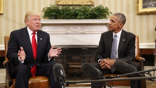 On President's Day, Trump hits Obama yet again