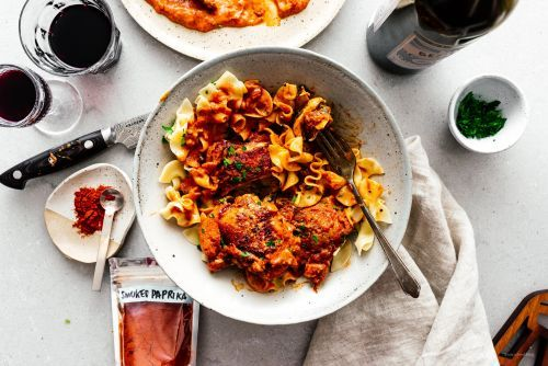 One Skillet Oven Roasted Paprikash Chicken Thighs Recipe