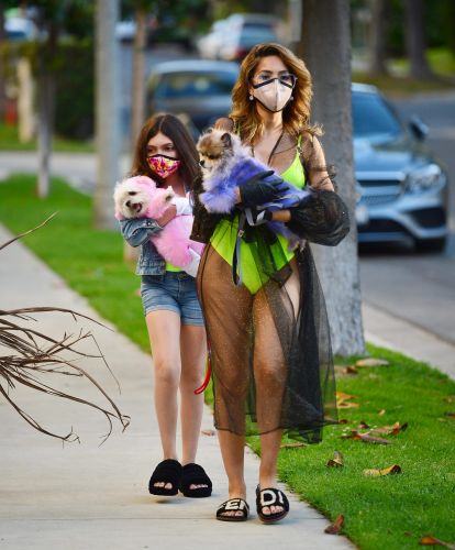 Farrah Abraham Rocks a Neon Swimsuit While Stepping Out With Daughter Sophia in Face Masks
