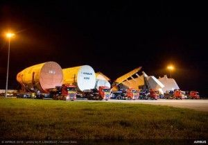 Sections For First All Nippon Airways A380 arrive in Toulouse