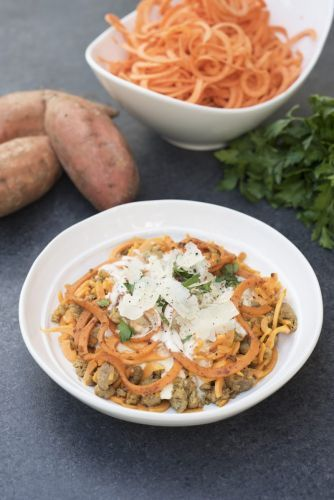 Creamy Sweet Potato Noodles with Sausage and Pine Nuts