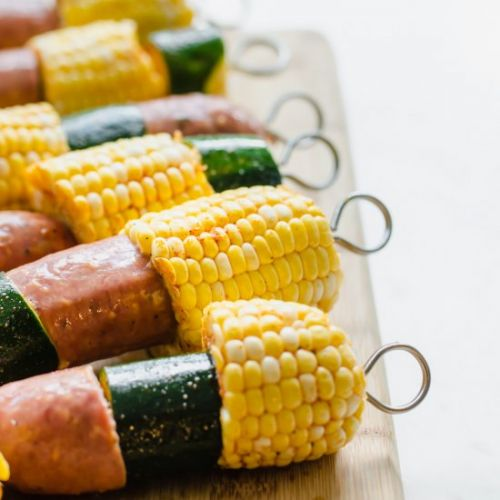 Sausage, Zucchini and Corn Kabobs