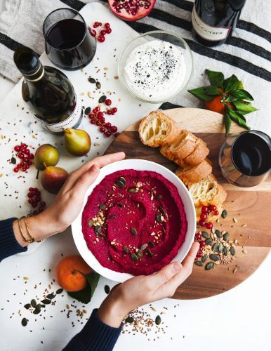 Fresh Appetizer: Wine Paired with Roasted Beet Hummus and Honey Ricotta Dip
