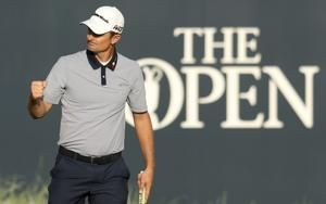 The Latest: Spieth, Schauffele, Kisner share lead at Open