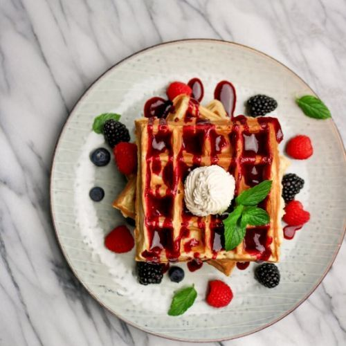Belgian Waffles With Fruit Puree