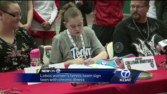 Lobo women's tennis team signs teen with chronic illness
