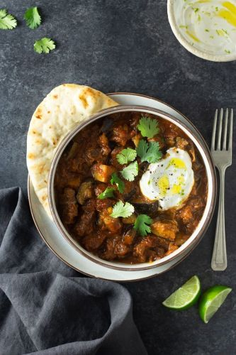 Indian Spiced Lamb Curry with Eggplant and Yogurt Sauce