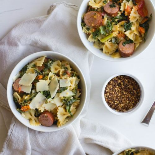 Pasta with Sausage, Tomatoes + Kale