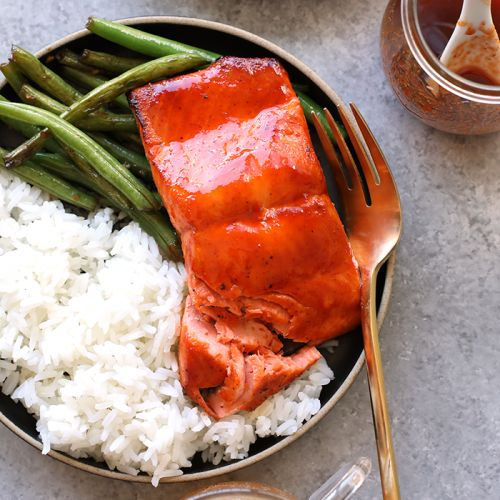 Honey Sriracha Salmon in 8 Minutes!