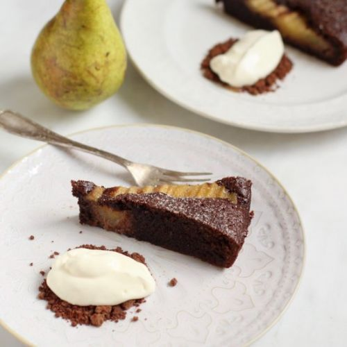 Chocolate and Pear Almond Tart