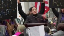 Alexandria Ocasio-Cortez Calls On Women To 'Shake The Table' In Women's March Speech