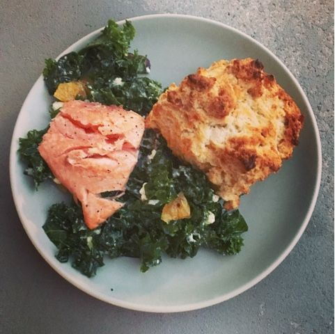 Cheddar-Bacon Biscuits and Citrus-Kale Salad with Roasted Salmon