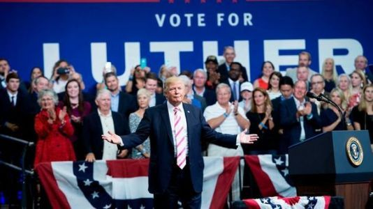 Trump Wades Deeper Into Alabama Primary At Strange Rally - With Some Hesitation