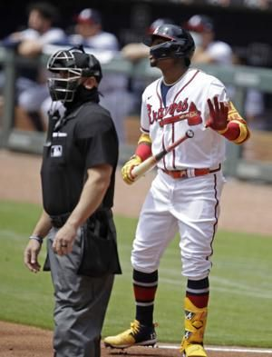 Acuña leaves Braves game with apparent left ankle injury