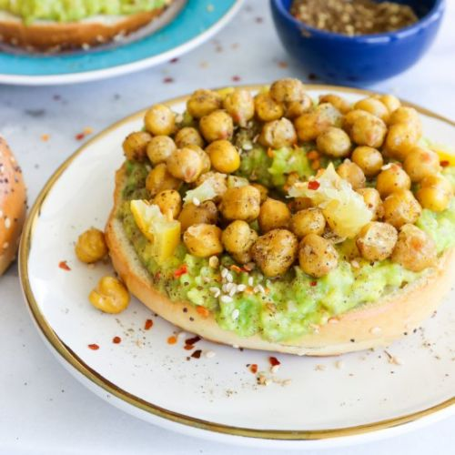 Avocado Bagel Toast with Chickpeas