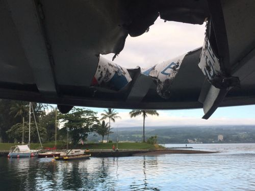 A basketball-sized 'lava bomb' crashed through the roof of a Hawaiian tour boat and injured nearly 2 dozen people