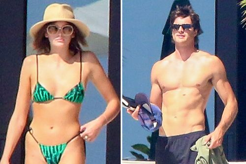 Kaia Gerber and rumored boyfriend Jacob Elordi vacation with her family