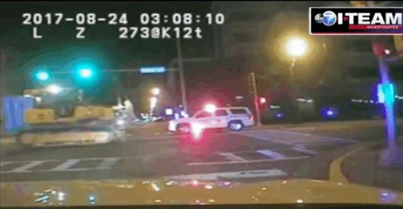 Cops Chase Bulldozer On Foot After It Crushes Police Car
