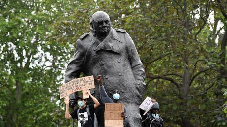 Winston Churchill memorial vandalized on D-Day anniversary during George Floyd protest in London