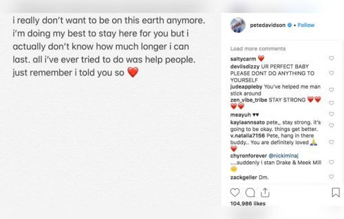 Pete Davidson Shares Disturbing Instagram Post -'I Really Don't Want To Be On This Earth Anymore'