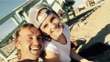 Emma Watson And Tom Felton Skateboard In 'Harry Potter' Beach Reunion