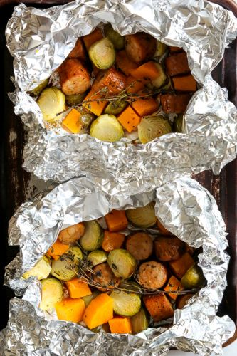 Spicy Sausage, Brussels and Butternut Foil Packets