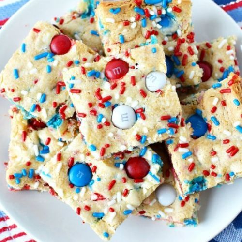 Red White and Blue Cake Bars