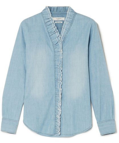 The Ruffled Denim Shirt That Will Help Alyssa Make Just Enough of a Statement