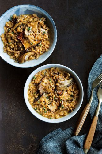 Farro Risotto with Mushrooms, Thyme and Asiago
